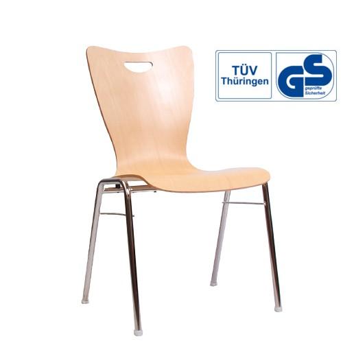 Holzschalenstuhl / Stapelstuhl COMBISIT A30G mit Griffloch  ohne Sitzpolster