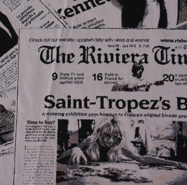 Stoff mit Zeitungsmuster schwarz/weiß