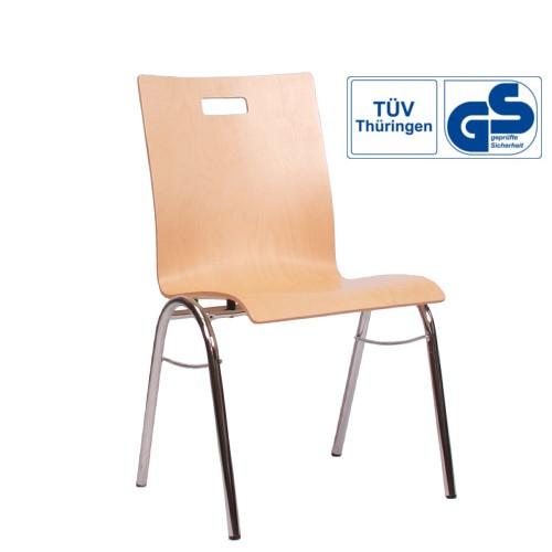 Holzschalenstuhl / Stapelstuhl COMBISIT B40G mit Griffloch, ohne Sitzpolster