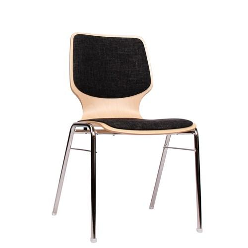Holzschalenstuhl / Stapelstuhl COMBISIT A20 mit Sitz- und Rückenpolster, Uni-Stoff dunkelgrau