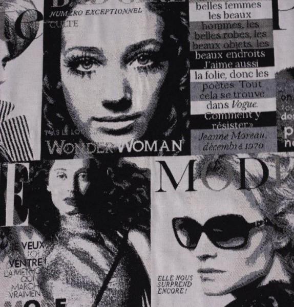 Stoff mit Motiv Modejournal schwarz/weiß