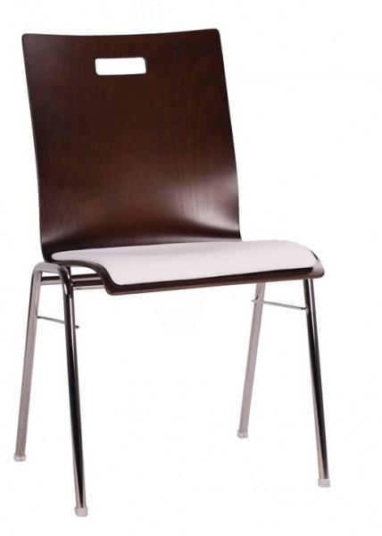 Holzschalenstuhl / Stapelstuhl COMBISIT A40G mit Griffloch, Sitzpolster beige