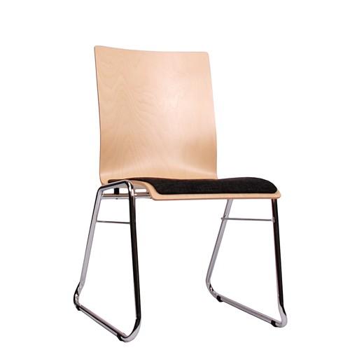 Holzschalenstuhl / Stapelstuhl COMBISIT C40 mit Sitzpolster, Uni-Stoff dunkelgrau
