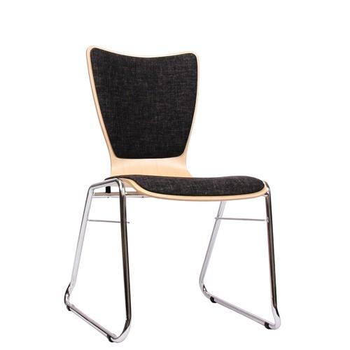 Holzschalenstuhl / Stapelstuhl COMBISIT C30 mit Sitz- und Rückenpolster, Uni-Stoff dunkelgrau