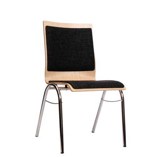 Holzschalenstuhl / Stapelstuhl COMBISIT B40 mit Sitz- und Rückenpolster, Uni-Stoff dunkelgrau