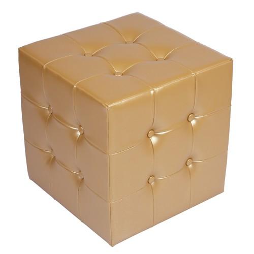 CUBO 1 PLUS mit 20 Zierknöpfen Bezug Kunstleder mit Prägung gold glänzend
