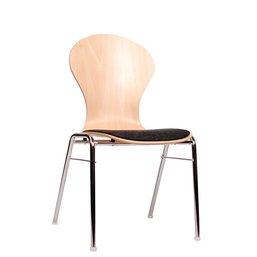 Holzschalenstuhl / Stapelstuhl COMBISIT A10 mit Sitzpolster, Uni-Stoff dunkelgrau