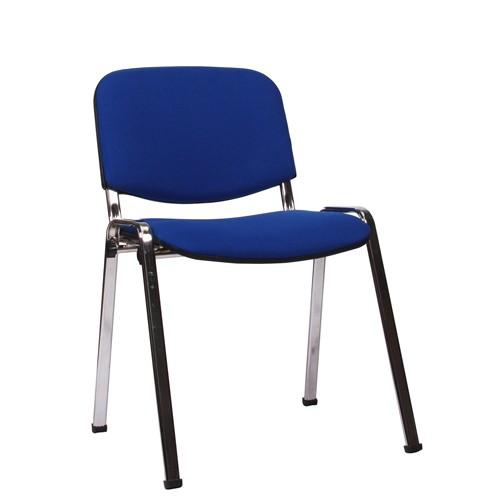 Stapelstuhl ISO verchromt, Bezug blau