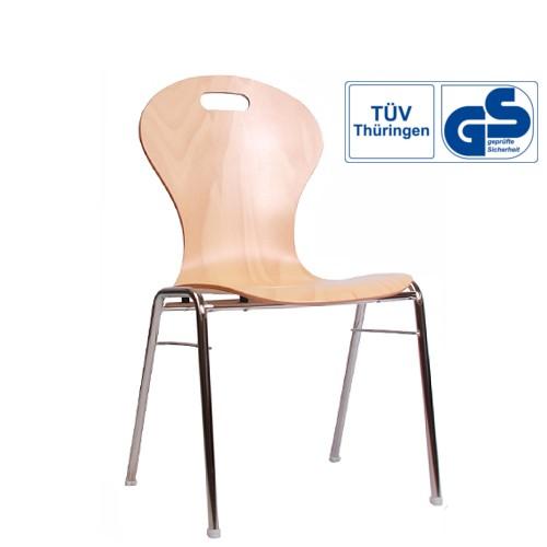 Holzschalenstuhl / Stapelstuhl COMBISIT A10G mit Griffloch,  ohne Sitzpolster