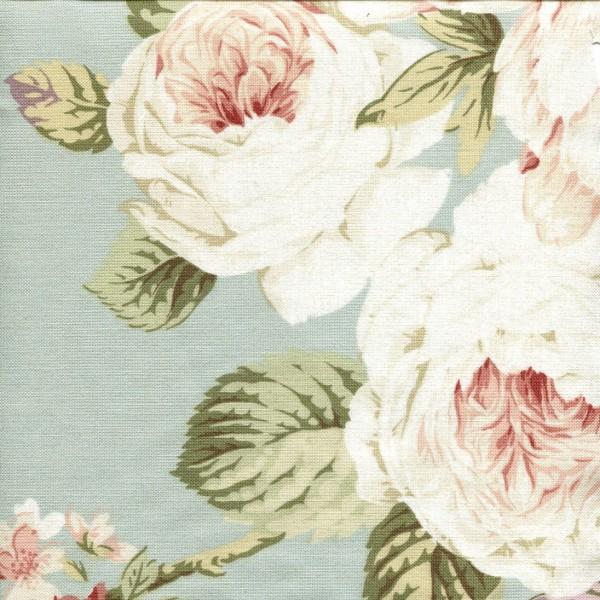 Stoff mit Blumen-Muster LC 43 aquablau